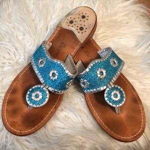 Turquoise Glitter Jack Rogers